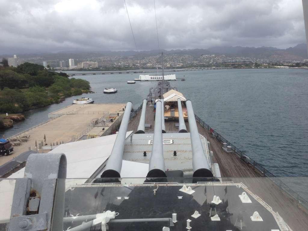 Вид с капитанского мостика USS Missouri.
