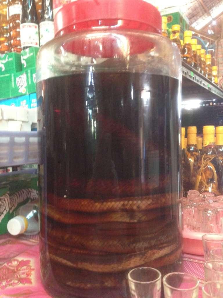 Рисовое вино на змеиной крови.